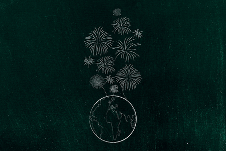 party and celebrations conceptual illustration: fireworks exploding above planet earth Stock Photo