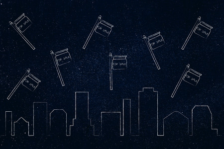 real estate market concept: city skyline with For Rent signs above
