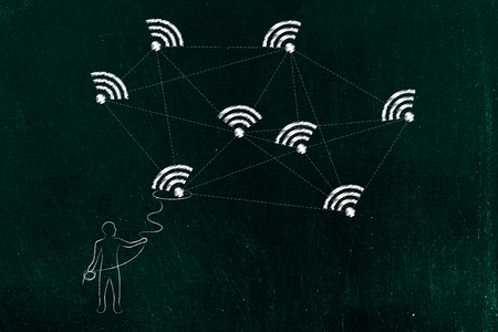 internet communication conceptual illustration: man with lasso grabbing one wi-fi icon from a connected network Stock Photo