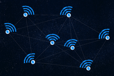 internet communication conceptual illustration: network with wi-fi symbols and dashed lines connecting them