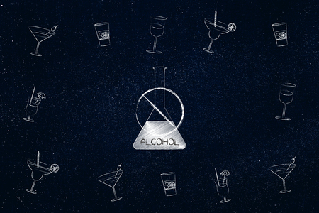 party and drinks concept: crossed out alcohol bottle surrounded by cocktail glasses Stock Photo