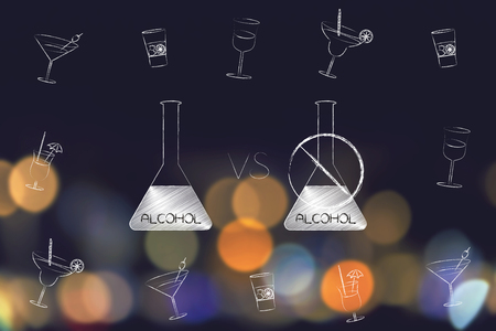 party and drinks concept: alcohol bottle vs a crossed out one surrounded by cocktail glasses Stock Photo