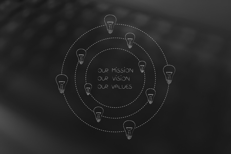 our mission, vision or values conceptual business illustration: caption surrounded by light bulbs