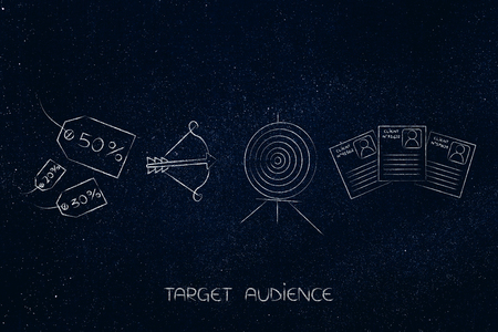 targeting the right audience conceptual marketing illustration: rebate price tags next to target and arrow and customer profiles Stockfoto