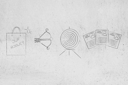 適切なオーディエンスコンセプトマーケティングイラストをターゲットに:矢印と顧客プロファイルを持つターゲットの隣にある当社の製品ショッピ