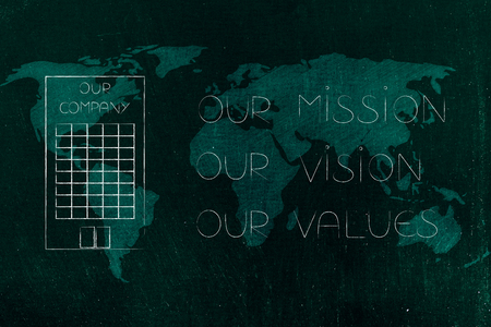 our mission, our vision, our values conceptual business illustration: policy text next to company building icon over world map Stock Photo