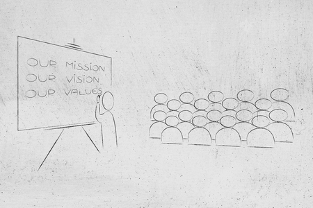 our mission, our vision, our values conceptual business illustration: Ceo at meeting explaining company policy to audience Stock Photo