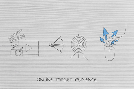 targeting the right online audience conceptual illustration: video and photo content next to target with arrow and mouse with clickstream