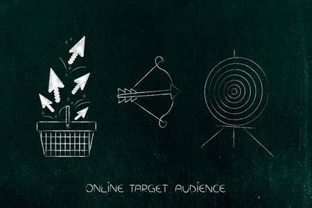 targeting the right online audience conceptual illustration: shopping cart with clickstream next to target and arrow