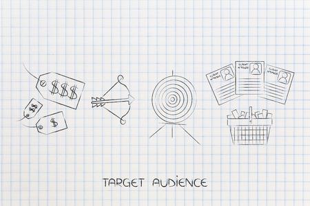 gericht op de juiste doelgroep conceptuele marketingillustratie: gemengde prijskaartjes naast doel met pijl en winkelwagentje met klantprofilering Stockfoto