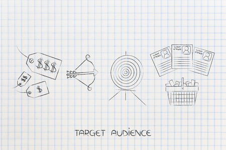 targeting the right audience conceptual marketing illustration: mixed price tags next to target with arrow and shopping cart with customer profiling Фото со стока