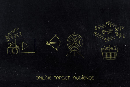 targeting the right online audience conceptual illustration: video and photo content next to target with arrow and shopping cart with social media comments above Banque d'images