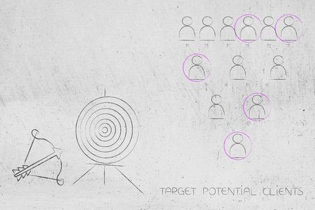 targeting the right market conceptual business illustration: target and arrow next to selection of clients out of a group Stock Photo