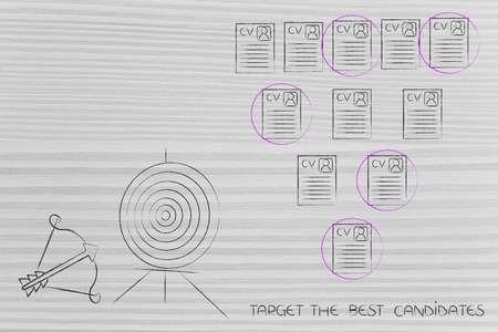 targeting the best candidates conceptual illustration: target and arrow next to selection of resumes within a group Stock Photo