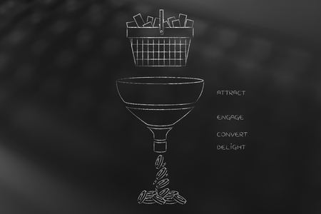 online marketing conceptual illustration: shopping basket falling into marketing funnel with captions and profits coins coming out of it Stock Photo