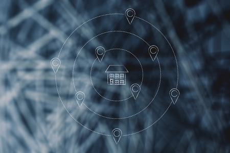 find a home in the best location conceptual illustration: house surrounded by geolocalisation tag Stock Photo