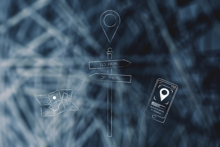 Location services on phone and travelling conceptual illustration