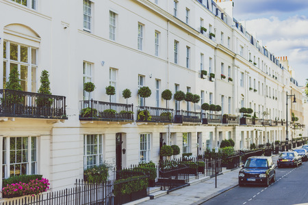 LONDON, UNITED KINGDOM - August 3rd, 2014: beautiful architecture in Belgravia, an affluent area of London city centre