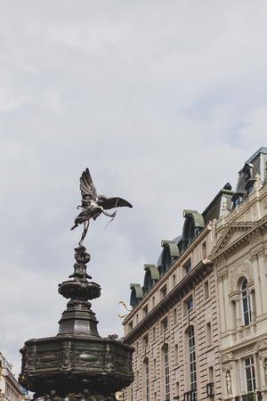 LONDON, UNITED KINGDOM - August 2nd, 2014: sculptur detail in piccadilly circus in London city centre