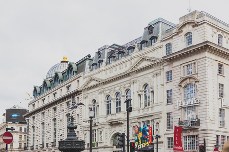 LONDON, UNITED KINGDOM - August 2nd, 2014: detail of piccadilly circus in London city centre