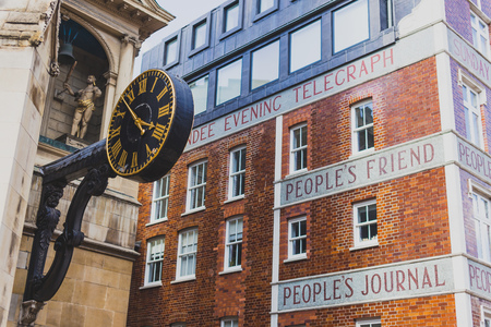 LONDON, UNITED KINGDOM - August 3rd, 2014: exterior of the the Dundee Courier building with text Peoples Friend, Peoples Journal Editorial