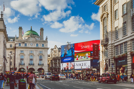 LONDON, UNITED KINGDOM - August 17th, 2014: view and architecture of the Piccadilly Circus in London city centre