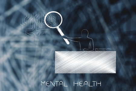 mental health and psychologic support conceptual illustration: psychologist with magnifying glass analysing mind (brain icon)