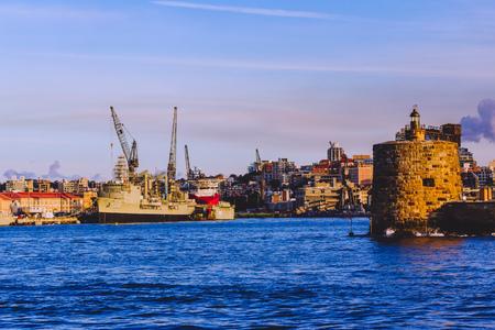 SYDNEY, AUSTRALIA - July 11th, 2013: Industrali-looking area of Sydney Harbour Editorial