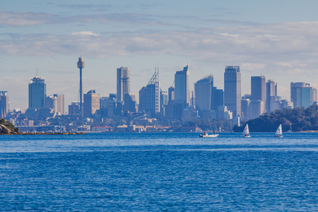 SYDNEY, AUSTRALIA - July 12th, 2013: Sydney skyline as seen from Watsons Bay