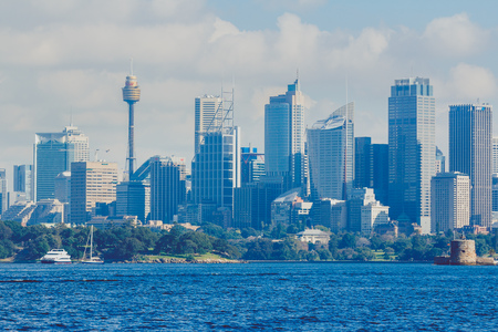 SYDNEY, AUSTRALIA - July 11th, 2013: Sydney Central Business District skyline shot from across the Harbour