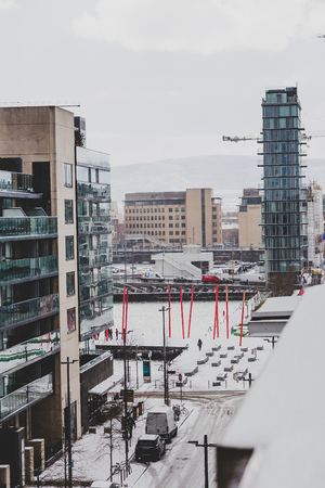 DUBLIN, IRELAND - February 28th, 2018: Streets of Dublin covered in snow for the first time in almost a decade due to the so-called Beast from the East storm Editorial