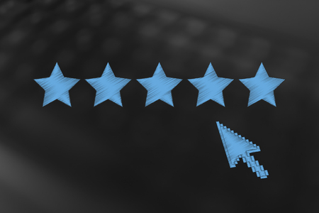 marketing and online feedback conceptual illustration: five star rating with mouse cursor about to click Stock Photo