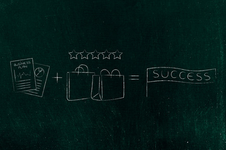 formula to business success conceptal illustration: strategy documents plus great product with good reviews Stock Photo