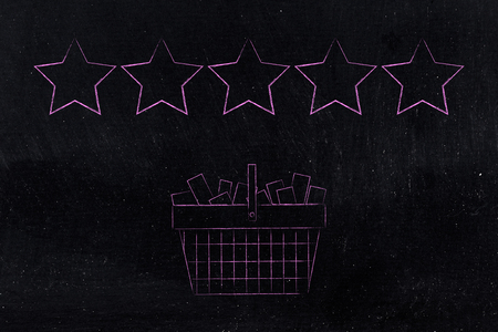 marketing and feedback conceptual illustration: shopping basket full of items with 5 star ratings above them