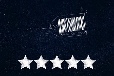marketing and feedback conceptual illustration: price tag with code bar and caption with 5 star rating