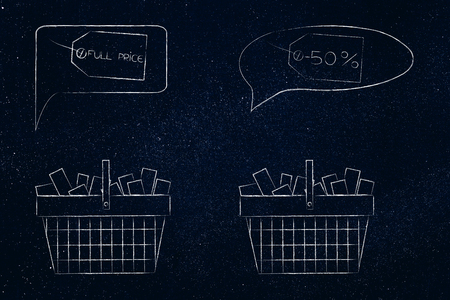pricing strategy conceptual illustration: shopping baskets full of items with Full Price and Reduced price tags above them