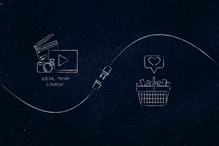connect your social media influence with business opportunities conceptual illustration: diigital content and shopping basket with heart icon being connected by metaphorical plug