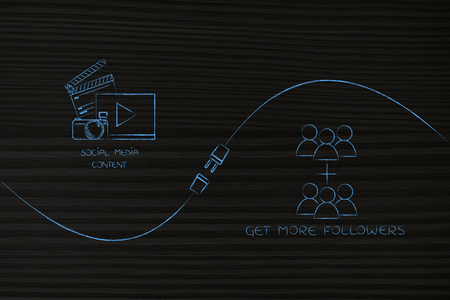 connect your social media influence with business opportunities conceptual illustration: digital content and followers count being connected by metaphorical plug Stock Photo
