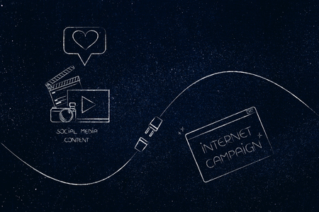 connect your social media influence with business opportunities conceptual illustration: diigital content and internet campaign pop-up being connected by metaphorical plug Stock Photo