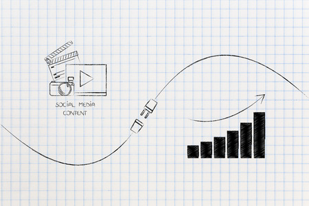 connect your social media influence with business opportunities conceptual illustration: digital content and growth graph being connected by metaphorical plug Stock Photo