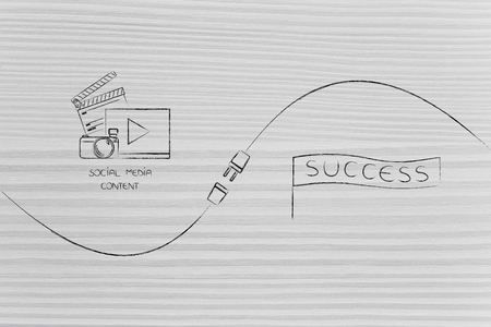 connect your social media influence with business opportunities conceptual illustration: digital content and success banner being connected by metaphorical plug Stock Photo