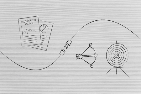 connect your business with success conceptual illustration: business plan documents and targeting symbol being connected by a plug Stock Photo