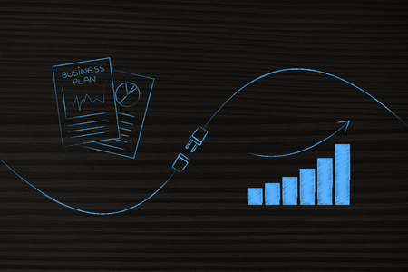 connect your business with success conceptual illustration: business plan documents and growth graph being connected by a plug