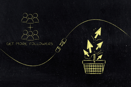 connect your social media influence with business opportunities conceptual illustration: follower count and shopping basket with click being connected by metaphorical plug Stock Photo