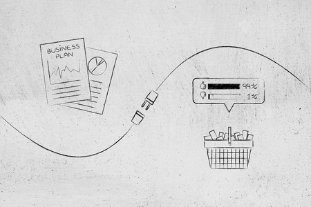 connect your business with success conceptual illustration: business plan documents and shopping basket with feedback being connected by a plug