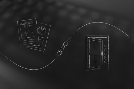 connect your business with success conceptual illustration: business plan documents and door to success with connection plug in between