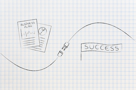 connect your business with success conceptual illustration: business plan documents and success banner being connected by a plug Stock Photo
