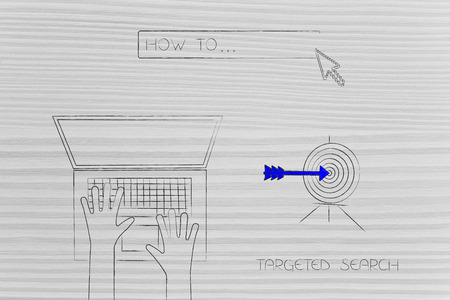 laptop user with How To search engine bar and target with arrow, concept of researching and online information