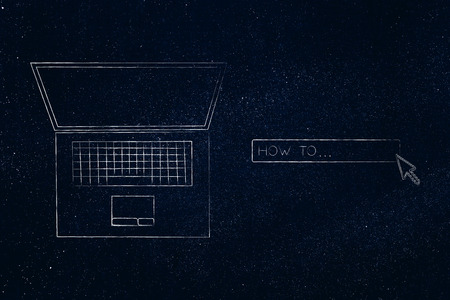 laptop with How To search engine bar and cursor clicking, concept of researching and online information