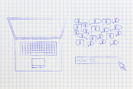 laptop with How To search engine bar and group of ideas into speech bubble, concept of researching and online information Stock Photo